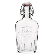 Personalized Clear Glass Hip Flask – Established Groomsman Engraving
