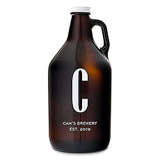 Personalized Amber Glass Beer Growler - Single Monogram Print