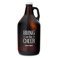 Personalized Glass Beer Growler - Bring on the Cheer Print