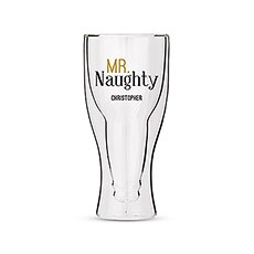 Personalized Double Walled Beer Glass Mr. Naughty Print