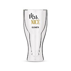 Personalized Double Walled Beer Glass Mrs. Nice Print