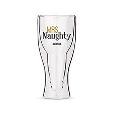 Personalized Double Walled Beer Glass Mrs. Naughty Print