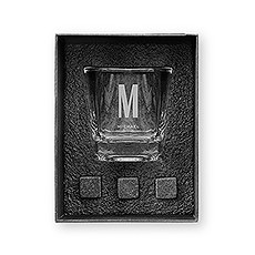 Square 8 oz. Whiskey Glass Gift Box Set - Sans Serif Monogram