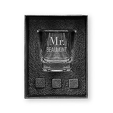 Square 8 oz. Whiskey Glass Gift Box Set - Classic Text