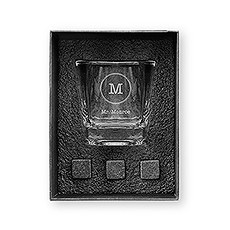 Square 8 oz. Whiskey Glass Gift Box Set - Circle Monogram
