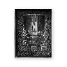 Round 11 oz. Whiskey Glass Gift Box Set - Sans Serif Monogram