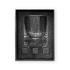 Round 11 oz. Whiskey Glass Gift Box Set - Whiskey is Neat
