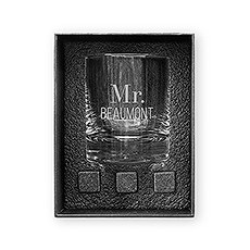 Round 11 oz. Whiskey Glass Gift Box Set - Classic Text