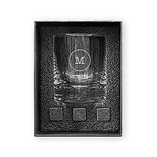Round 11 oz. Whiskey Glass Gift Box Set - Circle Monogram