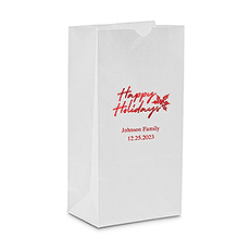 Classic Christmas Happy Holidays Block Bottom Gusset Paper Goodie Bags