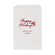 Classic Christmas Happy Holidays Flat Paper Goodie Bag