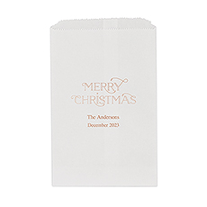 Merry Midnight Merry Christmas Flat Paper Goodie Bag