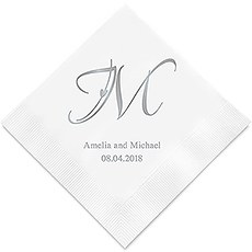 Personalized Foil Printed Paper Napkins - Decorative Initial Monogram