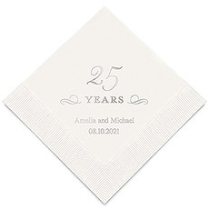 Personalized Foil Printed Paper Napkins - 25 Years