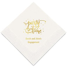 Personalized Foil Printed Paper Napkins - Party Time