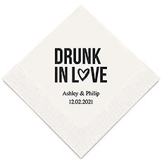 Personalized Foil Printed Paper Napkins - Drunk In Love