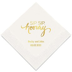 Personalized Foil Printed Paper Napkins - Sip Sip, Hooray