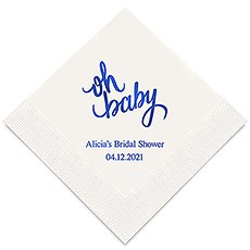 Personalized Foil Printed Paper Napkins - Oh Baby