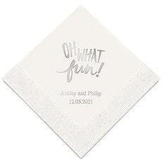 Personalized Foil Printed Paper Napkins - Oh What Fun!