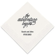 Personalized Foil Printed Paper Napkins - The Adventure Begins