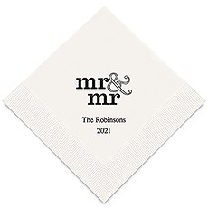 Personalized Foil Printed Paper Napkins - Mr & Mr Same Sex - Standard