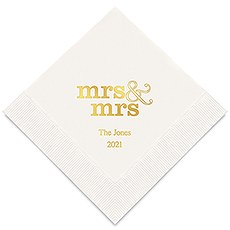 Personalized Foil Printed Paper Napkins - Mrs & Mrs Same Sex - Standard