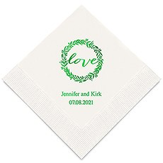 Personalized Foil Printed Paper Napkins - Love Wreath