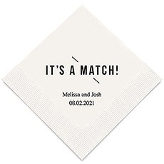 Personalized Foil Printed Paper Napkins - It's A Match!