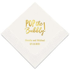 Personalized Foil Printed Paper Napkins - Pop the Bubbly