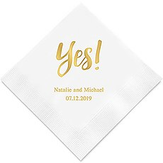 Personalized Foil Printed Paper Napkins - Yes!