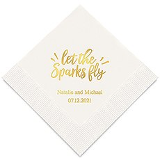 Personalized Foil Printed Paper Napkins - Let The Sparks Fly