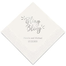 Personalized Foil Printed Paper Napkins - Bling Bling