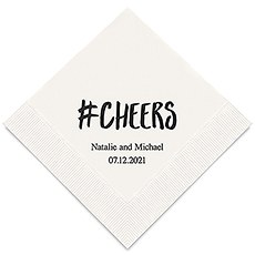 Personalized Foil Printed Paper Napkins - Hashtag Cheers
