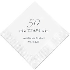 Personalized Foil Printed Paper Napkins - 50 Years