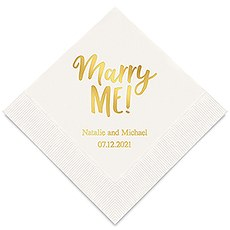 Personalized Foil Printed Paper Napkins - Marry Me!