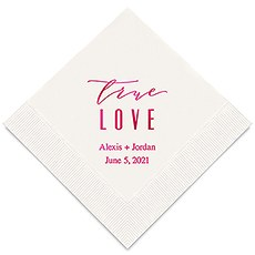 Personalized Foil Printed Paper Napkins - True Love Modern