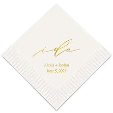 Personalized Foil Printed Paper Napkins - I Do