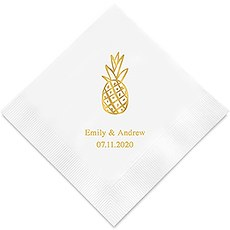 Personalized Foil Printed Paper Napkins - Pineapple