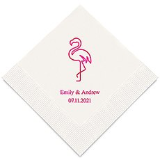 Personalized Foil Printed Paper Napkins - Flamingo