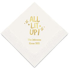Personalized Foil Printed Paper Napkins - All Lit Up!