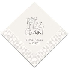 Personalized Foil Printed Paper Napkins - Pop Fizz Clink