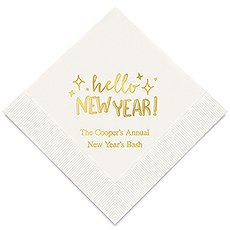 Personalized Foil Printed Paper Napkins - Hello New Year