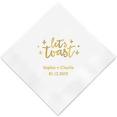 Personalized Foil Printed Paper Napkins - Let's Toast