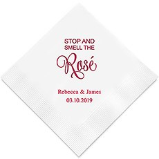 Personalized Foil Printed Paper Napkins - Stop And Smell The Rosé