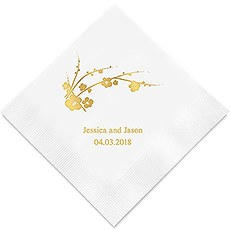 Personalized Foil Printed Paper Napkins - Cherry Blossom