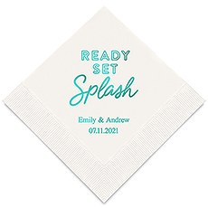 Personalized Foil Printed Paper Napkins - Ready Set Splash