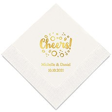 Personalized Foil Printed Paper Napkins - Cheers With Bubbles