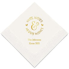 Personalized Foil Printed Paper Napkins - Hugs, Kisses & Merry Wishes