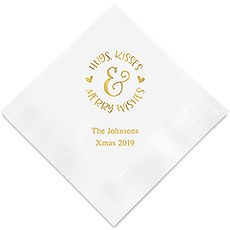 Hugs, Kisses & Merry Wishes Printed Napkins