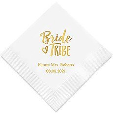 Personalized Foil Printed Paper Napkins - Bride Tribe